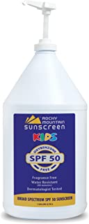 Kids, Gallon, SPF 50 - Rocky Mountain Sunscreen Lotion Bulk - Oxybenzone Free, No Octinoxate, Gluten Free - Broad Spectrum, 80 Minute Very Water Resistant