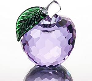 H&D Crystal Purple Apple Paperweight 40mm Art Glass Apple Collectible Figurines Best for Christmas Eve Gifts