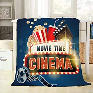 Mugod Cinema Movie Poster Throw Blanket Popcorn Filmstrip Clapboard Tickets and Movie Time Banner Shining Sign Decorative Soft Warm Cozy Plush Throws Blankets for Bedding Sofa Couch 60 X 80 Inch