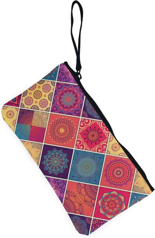 AORRUAM Mandala Bright Canvas Coin Purse,Canvas Zipper Pencil Cases,Canvas Change Purse Pouch Mini Wallet Coin Bag