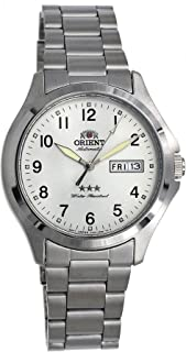 Orient RA-AB0F15S Men's Stainless Steel 3 Star Silver Numbers Dial Day Date Automatic Watch