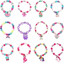 Elesa Miracle 12pc Little Girl Teens Kids Shiny Unicorn Flamingo Owl Mermaid Pendant Beaded Bracelet Value Set Kids Girl Party Favor Pretend Play Bracelet