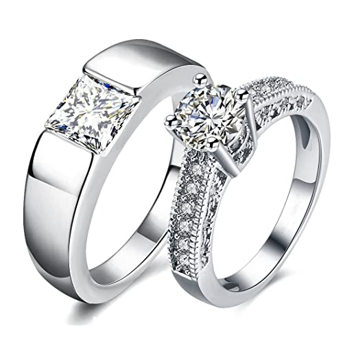 Via Mazzini White Gold Plated Crystal Proposal Couple Rings for Boys and Girls (Ring0363)
