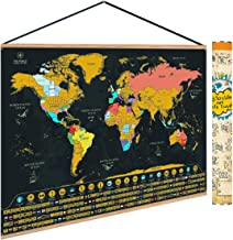 WanderWell Scratch Off Map of The World - Frame Included - U.S.A States, World Flags and Landmarks - Premium Wall Art Gift for Travelers - 24x17 Inches