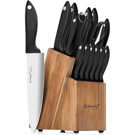 Emojoy Couteaux de Cuisines Professionnels, Set Couteaux Cuisine 15 Pièces en Acier Inoxydable Allemand, Ensemble de Couteaux avec Bloc de Couteaux en Bois, Couteaux à Steak, Aiguiseur, Ciseaux