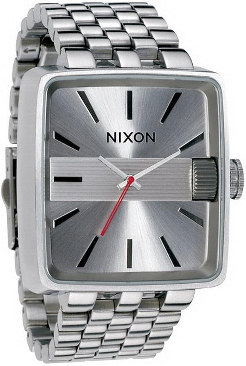 Nixon A004100-00 - Reloj analógico de Cuarzo para Hombre con Correa de Acero Inoxidable, Color Plateado