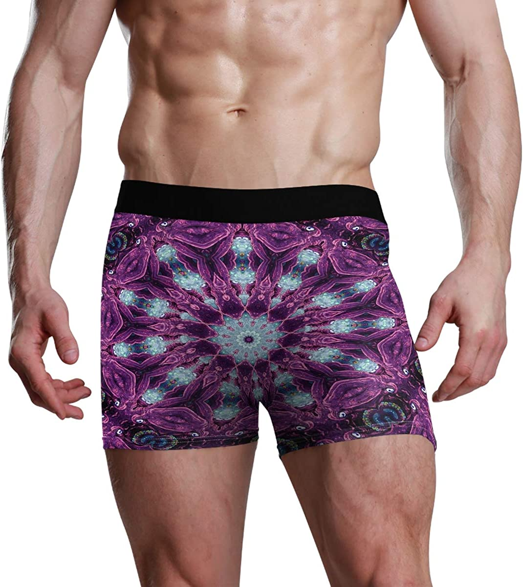 HangWang Mens Boxer Briefs Psychedelic and Trippy Designs Made Low Rise Trunks Underwear Breathable Bikini Boys