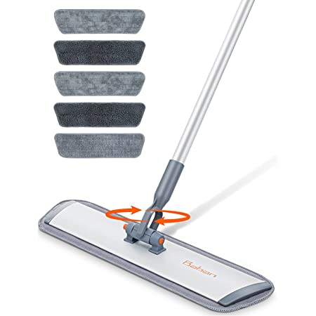 """Microfiber Mop Floor Cleaning System,Baban 60"""" Hardwood Floor Mop with Long Handle and Cleaning Brush, Wood Floor mop with 6 Washable Mop Cloth for Wet and Dry Use"""