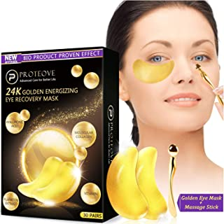 30 Pairs Gold Eye Mask - 24K Pure Nano-Active Gold Under Eye Patches, Power Crystal Gel Collagen Masks, Great for Anti Aging, Moisturizing & Reducing Dark Circles Puffiness Wrinkles