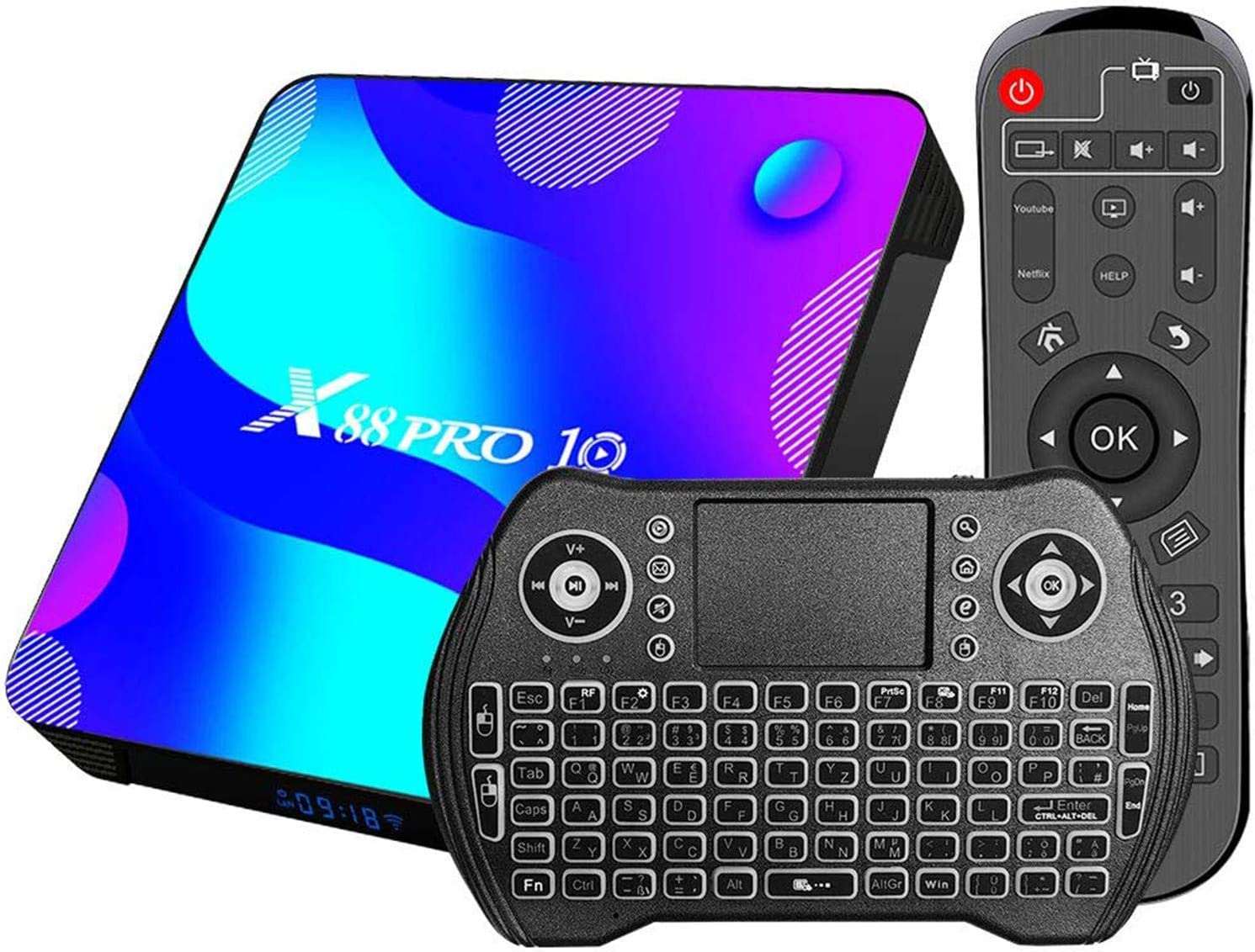 DOOK [2021 Newest] Android 11.0 TV Box, X88 PRO 10 Android Box RK3318 Quad-Core Cortex-A53 CPU with Dual-WiFi 2.4G/5.8GHz BT 4.0, with Wireless Mini Keyboard Ultra HD 4K HDR TV Box