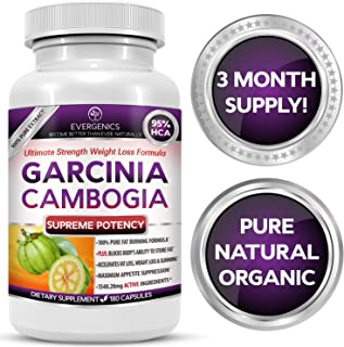 Evergenics Organic Garcinia Cambogia Extract. Fast, Natural Weight Loss for Adults. 3 Month Supply, 180 Capsules. Ultimate...