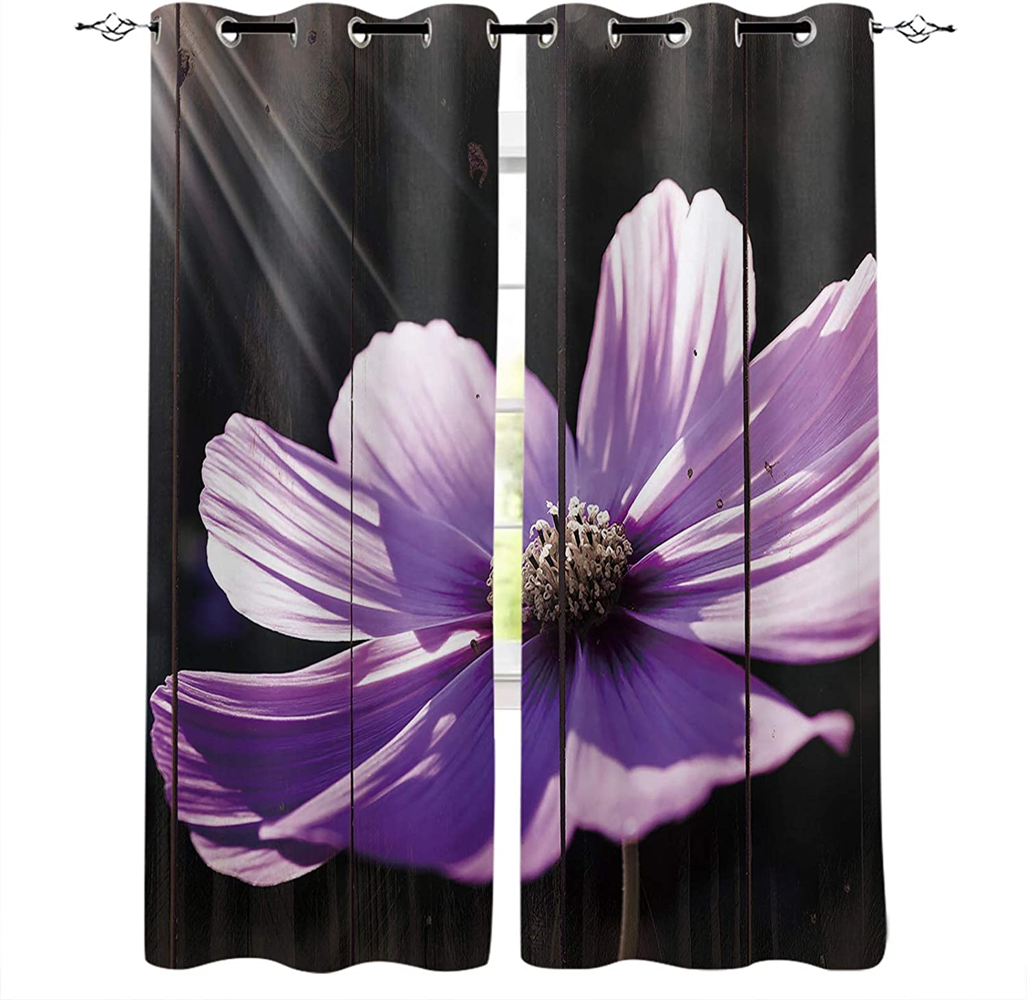 FortuneHouse8 Blackout Curtains Purple Flower Retro Easy-to-use Grain Cheap mail order specialty store Wood R