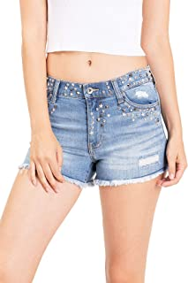 Kendall & Kylie Women's Juniors Mid Waist Studded Denim Shorts