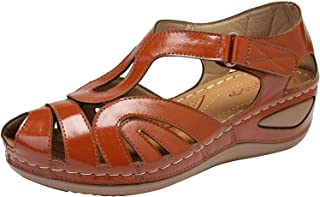 Dames Sandalen Basic Closed Toe Mid Wedge hol gesneden zomer outdoor sandalen