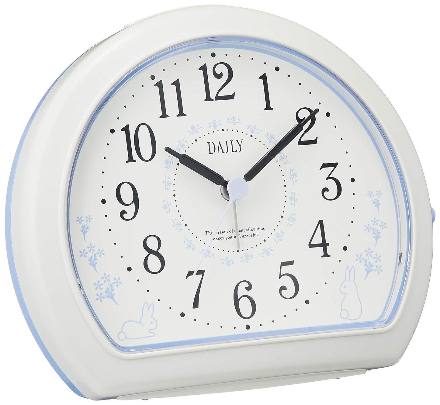 記念日ゾーンドメインリズム時計 クォーツ 目覚まし時計 アナログ デイリー R550 電子音 うさぎ 柄 白 DAILY (デイリー) 4SE550DN12