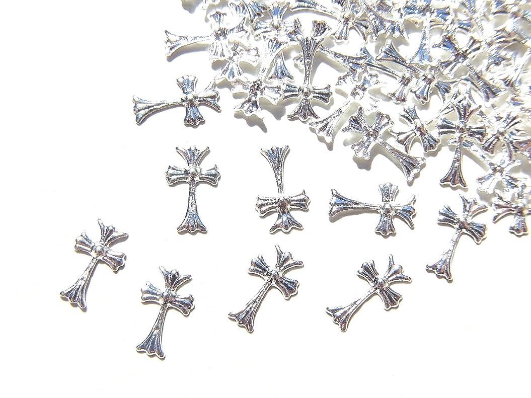 アルプス嵐の半導体【jewel】シルバー メタルパーツ クロス (十字架) 10個入り 6mm×3.5mm 手芸 材料 レジン ネイルアート パーツ 素材