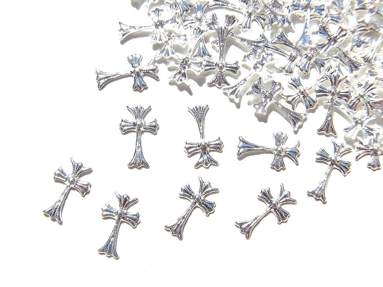 移動アナウンサーおとこ【jewel】シルバー メタルパーツ クロス (十字架) 10個入り 6mm×3.5mm 手芸 材料 レジン ネイルアート パーツ 素材