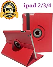 iPad 2/3/4 Case - 360 Degree Rotating Stand Smart Case Protective Cover with Auto Wake Up/Sleep Feature for Apple iPad 4, iPad 3 & iPad 2 (red-01)