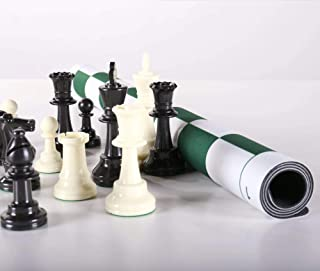 Chess House Triple Weighted Club Chess Set with USA Made Flex Pad Rollup Folding Board, 3 3/4 inch King, Extra Queens