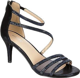 Maripe Women's Ella - Rhinestone Low Stiletto Heel Ankle Strap Sandal Shoe