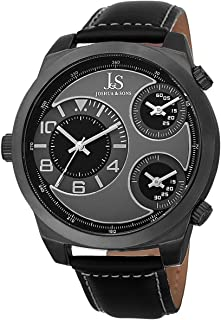 Joshua & Sons Men'S Gray Dial Leather Band Watch - Js88Bk