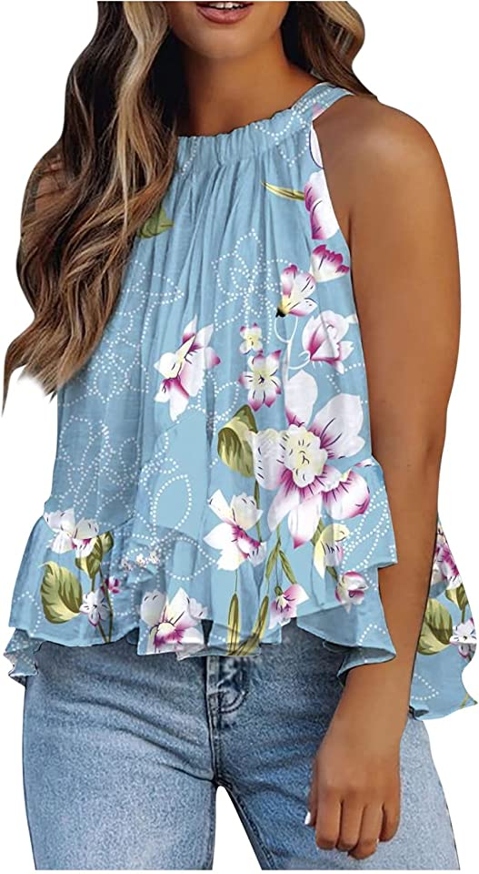 BOIYI Women's Summer Casual Tank Tops Sleeveless Ruffle Tiered Babydoll Casual Loose Flowy Swing Shirt Tunics Blouses