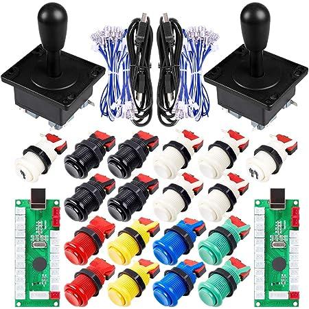 SJJX DIY Arcade Game Button and Joystick Controller Kit for Rapsberry Pi and Windows,5 Pin Joystick and 10 Push Buttons 823a Mix Black