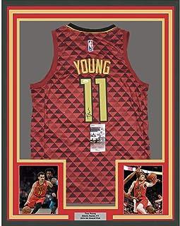 e62b56b9773 Framed Autographed/Signed Trae Young 33x42 Atlanta Red Basketball Jersey JSA  COA