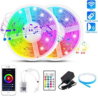LED Strip Lights 32.8FT, WiFi 5050 RGB Music Sync Color Changing Rope Tape Lights Outdoor Waterproof Smart Flexible Dimmable LED Strip Light with Remote Alexa App Control Indoor for iOS and Android