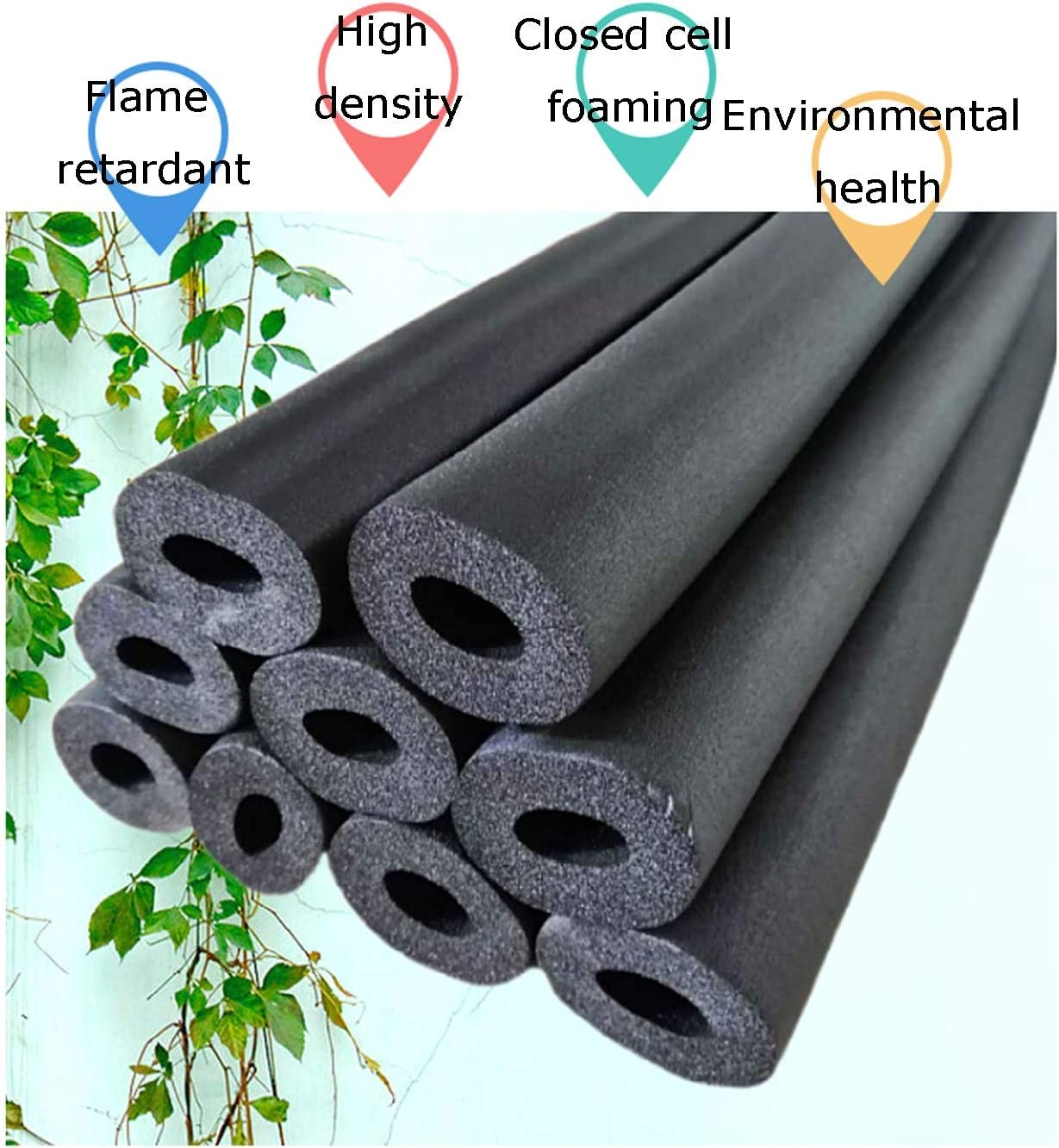 Color : 108mm , Size : Pack of 3 High Density Self-Sealing Tube Pipe Insulation,Rubber Hoses Water and High Temp Resistant,Great for Solar Water Heater Systems,Thick Wall 20mm,Lengths 1.9m,3-Pack