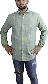 Spanish One Look Mens Casual Long Sleeve 100% Cotton Regular Fit Button Down Casual Shirts Dress in Light Green Printed Check Shirt for Men