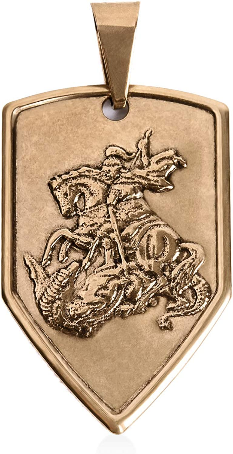 St George 14kt Yellow Gold Filled Medal Pendant, Religious Christian Jewelry of Patron Saint George and the Dragon for Men and Women, Antique Finish Medal