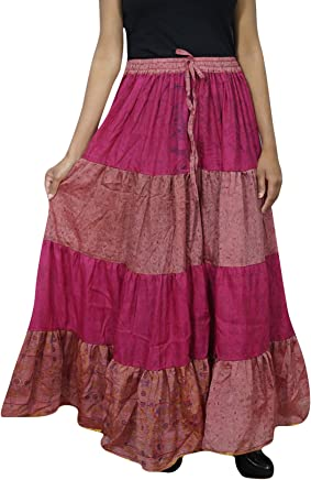 Womens Skirt Pink Silk Sari Long Swing Belly Dance Tiered Skirts L