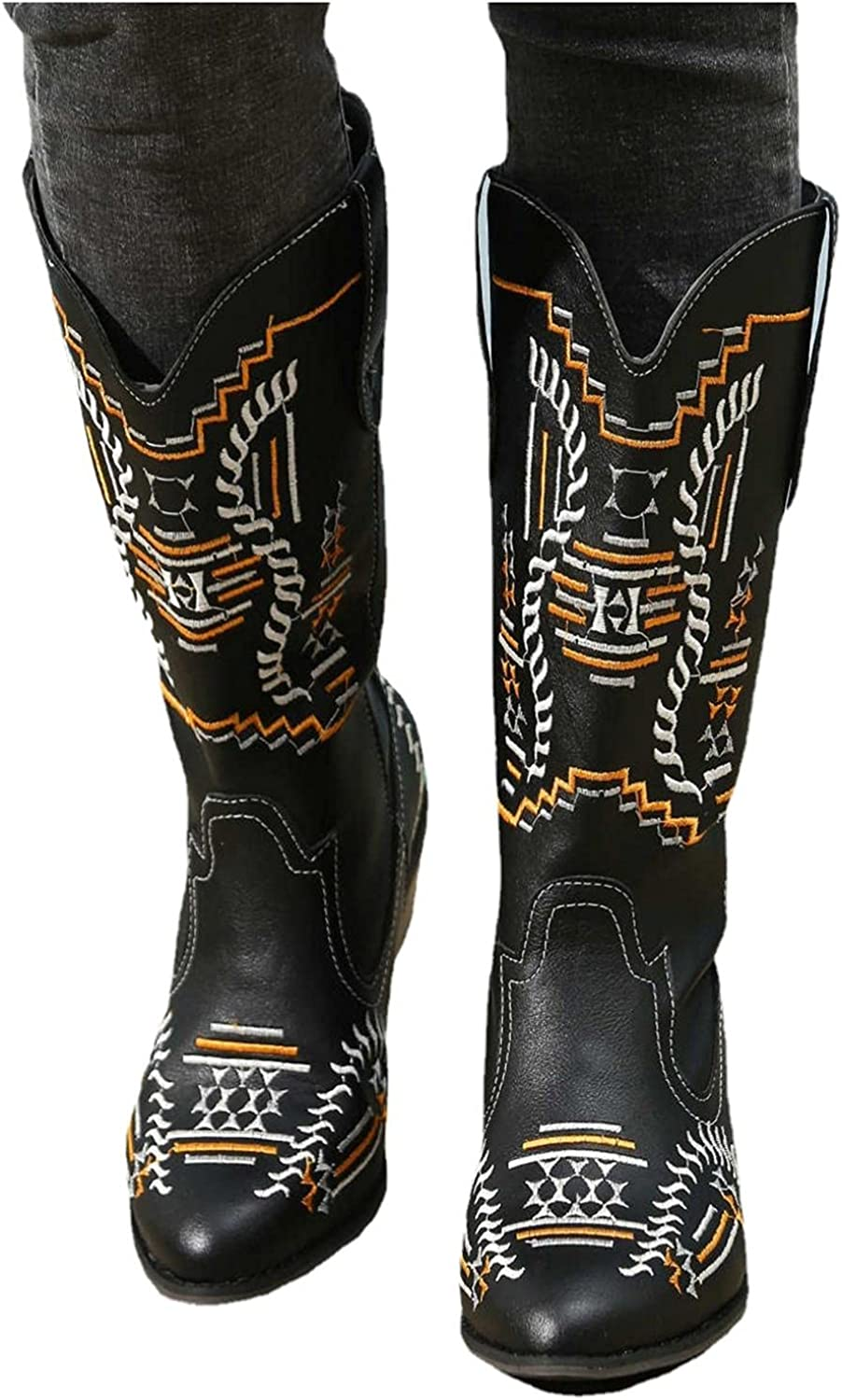 Cowboy Boots for Women Wide Calf Mid Calf Boots Chunky Heel Embr