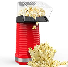 Hot Air Popcorn Maker, Popcorn Machine, 1200W Popcorn Popper with Measuring Cup and Removable Lid for Watching Movies and Holding Parties in Home, No Oil Needed Great For Kids, Red