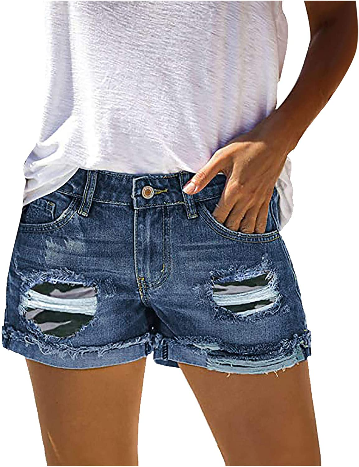Denim Shorts for Women,Shorts for Women Distressed Ripped Stretchy Frayed Raw Hem Hot Short Jeans