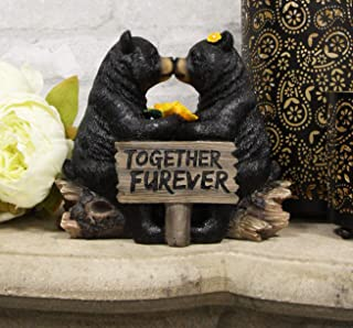 Ebros Whimsical Wedding Vows Black Bear Couple Kissing by Tree Log Statue 7
