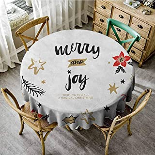 ScottDecor Fabric Tablecloth Joy Christmas Themed Flowers Swirls Stars Celebratory Arrangement Merry Illustration Camel Red Black Patio Round Tablecloth Diameter 60