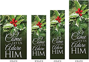 O Come Let Us Adore Him Church Banner for Christmas or Advent Decor