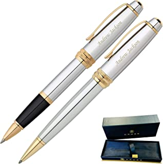 Dayspring Pens | Personalized Cross Bailey Medalist Rollerball and Ballpoint Gift Pen Set. Custom engraved fast! Pen Case included.