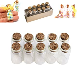 Mini Glass Bottles Cork Tops for Camping Project, Arts & Crafts, Jewelry, Stranded Island Message, Wedding Wish, Party Favors (10 Pack)