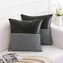 Decorative Faux Leather Jacquard Plaid Throw Pillow Covers 18x18 Inches, Throw Pillows Cushion Covers for Sofa Couch Bed, Set of 2, Black