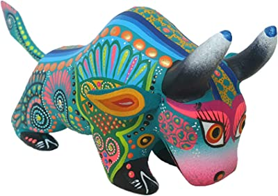 Mexican Alebrije Bull Wood Carving Handcrafted Sculpture (Turquoise)