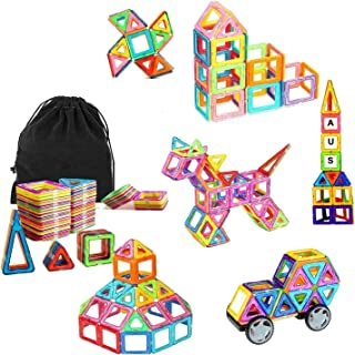 Ausear Portable 79pcs Magnetic Building Blocks Magnet Tiles Educational Stacking Blocks Toys Gifts with Wheels for Toddler...