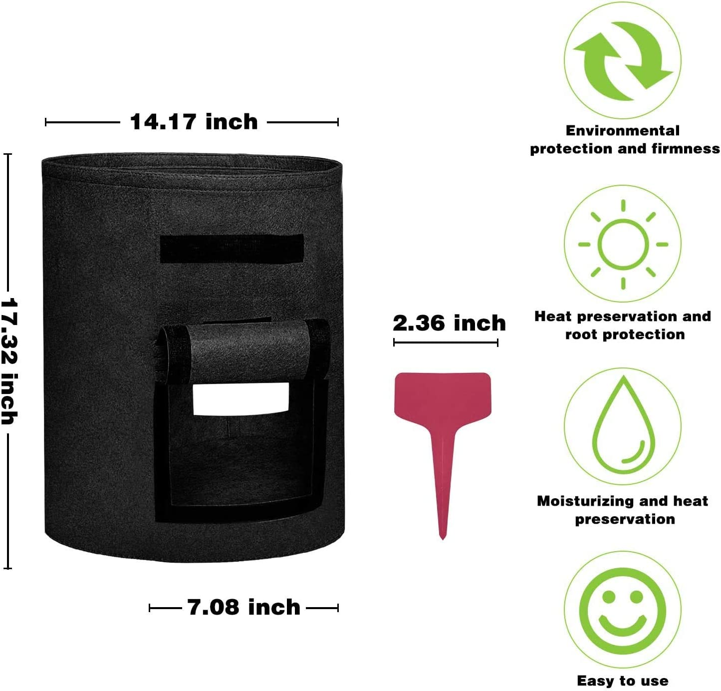 Black MIXXIDEA Potato Grow Bags Plant Growing Bag Vegetables Planter Bag Breathable Cloth Bags Two Side Windows for Planting Potato Carrot Onion Peanut,10 Gallon 5 Pack