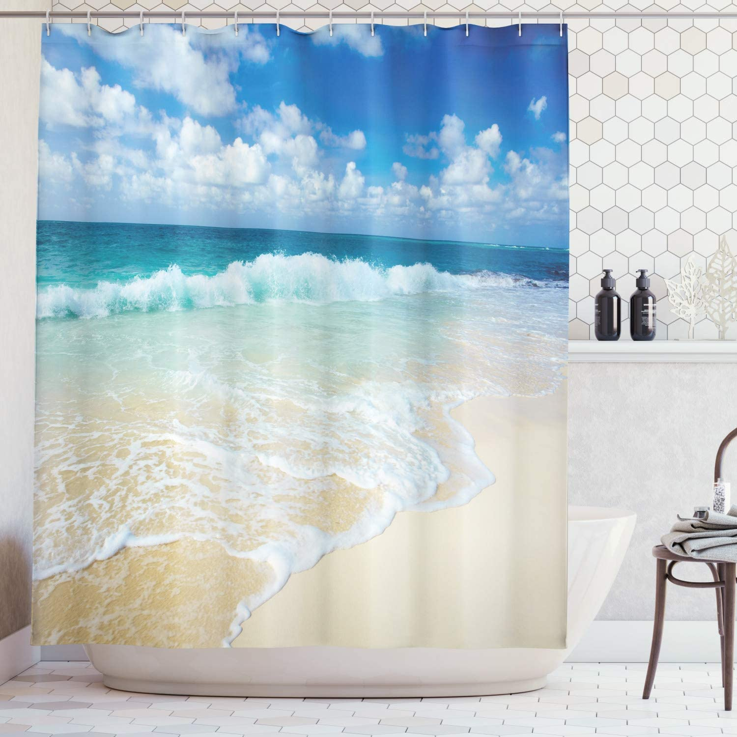 Max 55% OFF Lunarable Wave Shower Curtain, Beach with Foamy Waves ...