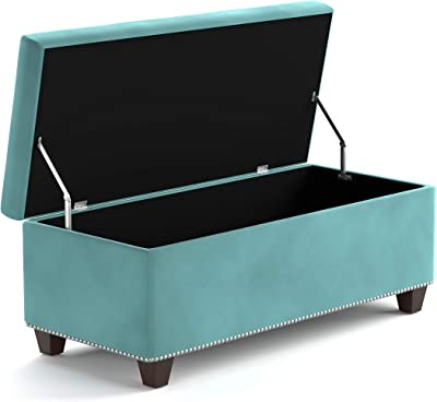 Domesis Velvet Tufted Bench Storage Ottoman, Turquoise Blue