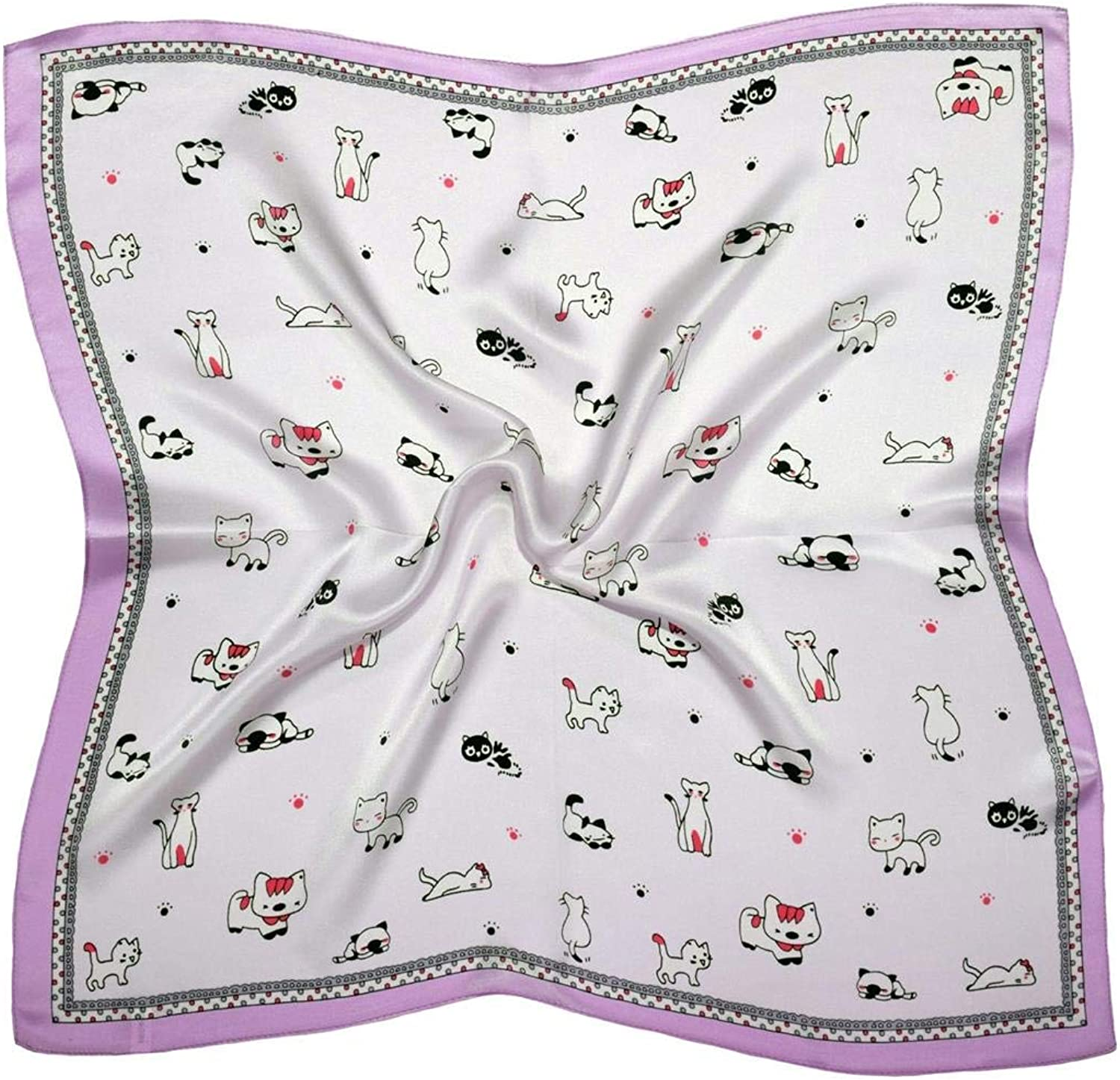 purplec White Cats Thick Small Silk Square Scarf