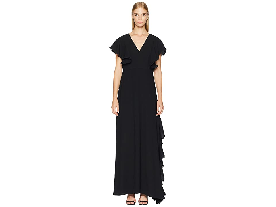 ML Monique Lhuillier Crepe Gown (Black) Women