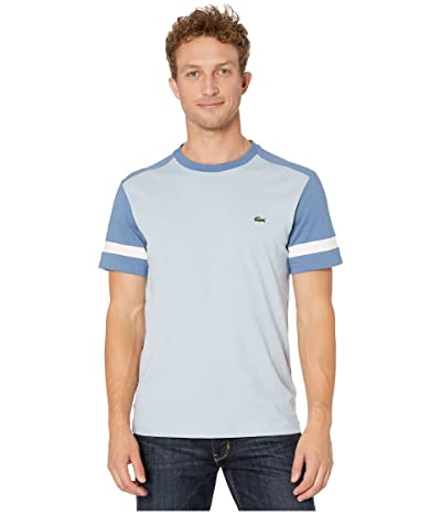 Lacoste Short Sleeve Jersey Color Block T-Shirt Regular (Breeze/King/Flour) Men